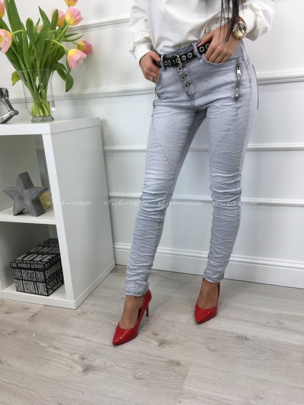 0680a995 Spodnie jeans szare zamki Baggy Zip - efashionstudio.pl