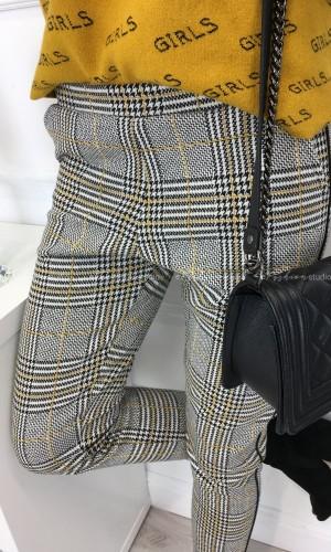 Spodnie w kratę przeszywane złotą nicią / Elegance