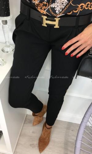 Czarne spodnie ze złotym lampasem Venus