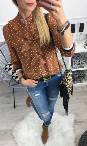 Camelowa bluzka w kropki z żabotem / Silento