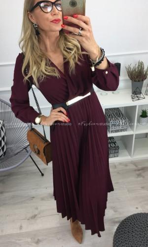 Kopertowa sukienka z plisami w kolorze bordo / Loop