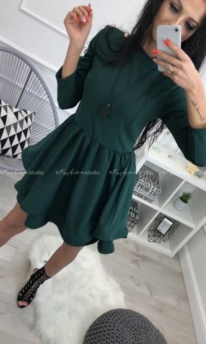 Zielona, rozkloszowana sukienka ze złotymi guzikami / Inspiro