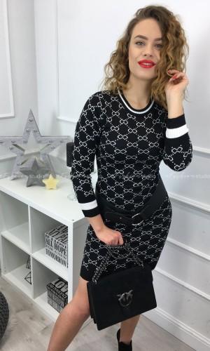 Czarna sukienka z dzianiny w białym princie / Eden