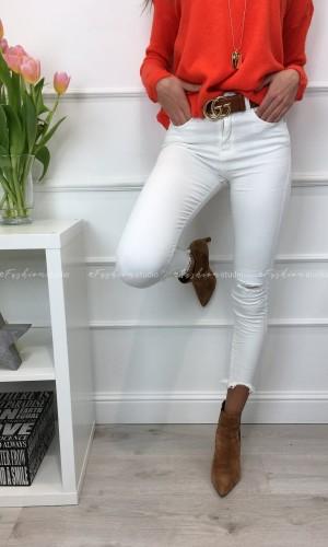 Spodnie jeans białe przecierane Ripped Tom