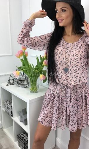 Sukienka babydoll w różowym princie DELICATE ROSE