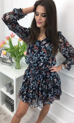 Sukienka babydoll granatowa w kwiaty DELICATE NIGHT