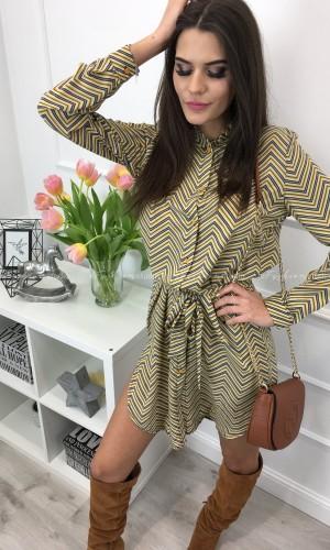 Sukienka szmizjerka musztardowy print ZOA ZIG ZAC