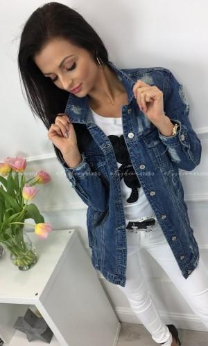 Kurtka jeansowa z przetarciami Elenna Long