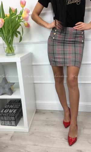 Spódniczka w kratę z ozdobnymi guzikami Mela Button