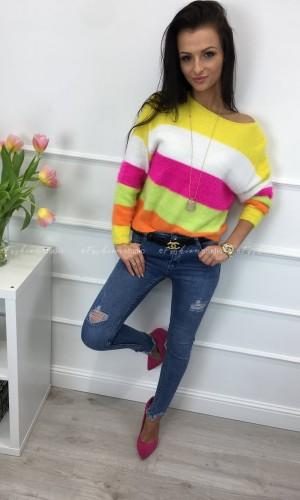 Sweter w kolorowe pasy Neon Trio