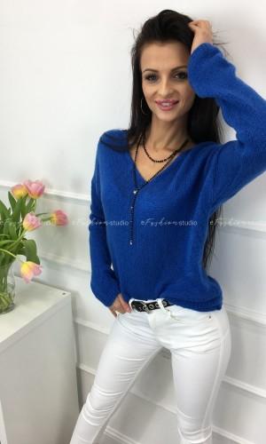 Sweterek moher z dekoltem V kobalt V Neck Blue