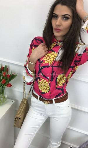 Bluzka koszulowa w princie Klara Pink