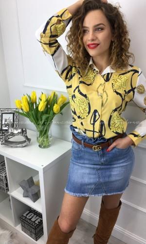 Bluzka koszulowa w princie Klara Yellow