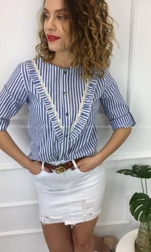 Bluzka koszulowa z żabotem Kimmy Blue & White