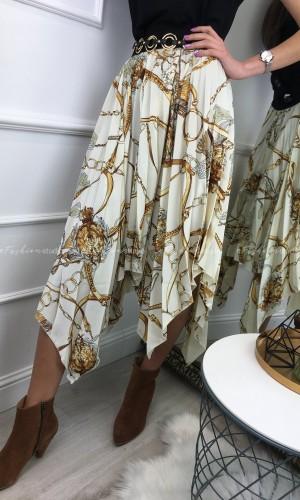 Spódnica plisowana asymetryczna Chains beige