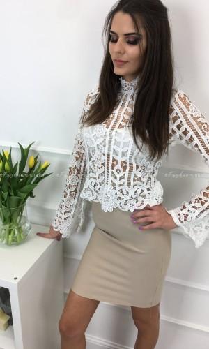 Bluzka koronkowa poszerzane rękawy Gracja white