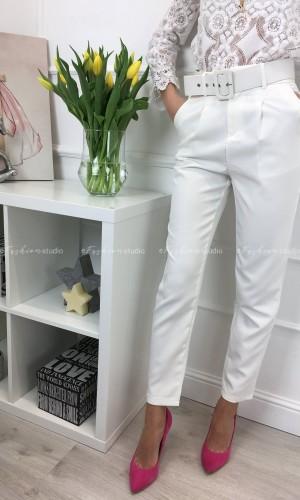 Spodnie cygaretki z wysokim stanem Classic Ecru