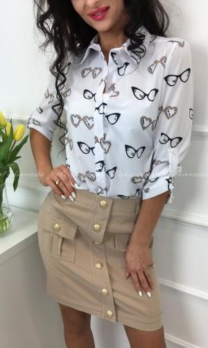 Bluzka koszulowa Glasses Beige