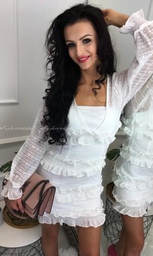 Sukienka z falbankami Carolina White