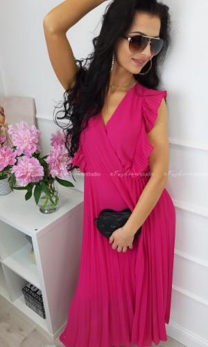 Sukienka Maxi z Plisowaniem Fuksja