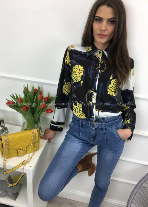 Bluzka koszulowa w princie Klara Black