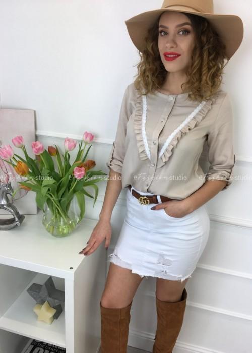 Bluzka koszulowa z żabotem Jasmine Beige