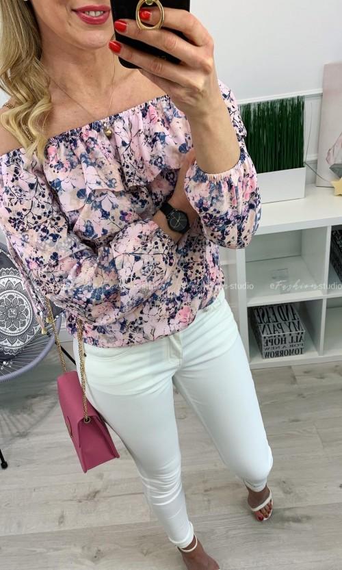 Bluzka hiszpanka EXELLENCE Flower Pink