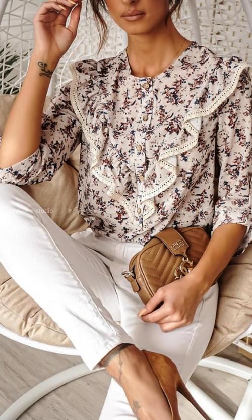 Bluzka LEA Frill Flowers White
