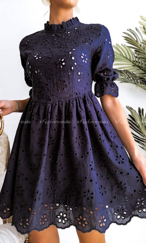 Sukienka MAYA Ażur Navy