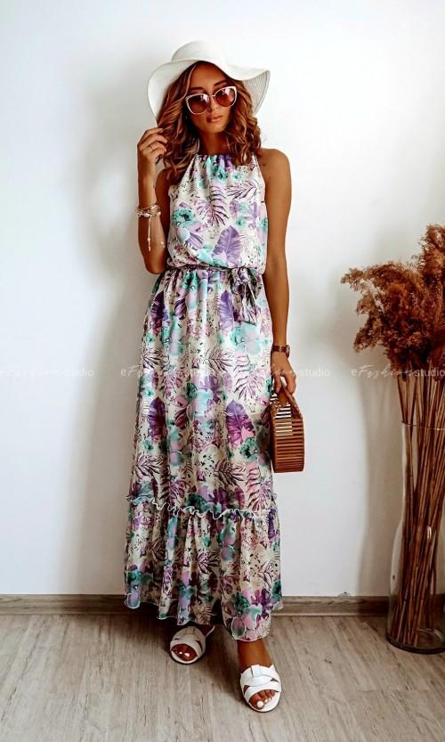 Sukienka OLIMPIA Maxi Flower Fiolet