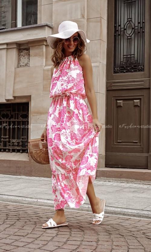 Sukienka OLIMPIA Maxi Flower Pink