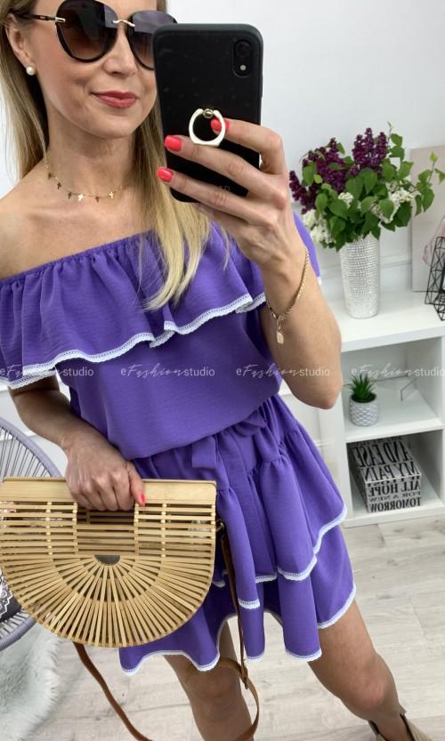 Sukienka NICOLE Hiszpanka Fiolet