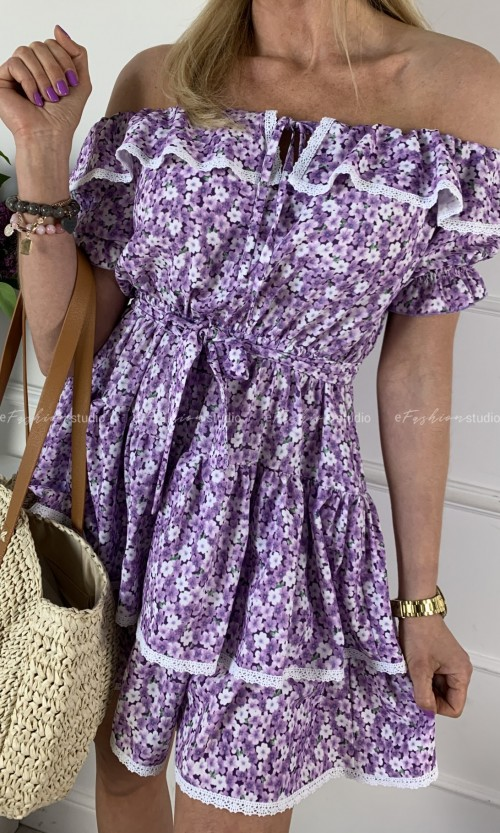 Sukienka SOLKOS Hiszpanka Flower Fiolet