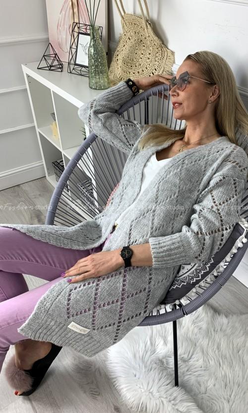 Kardigan FIONA Ażur Grey
