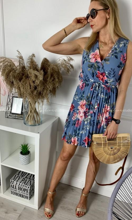 Sukienka ABITO Plisy Flower Blue
