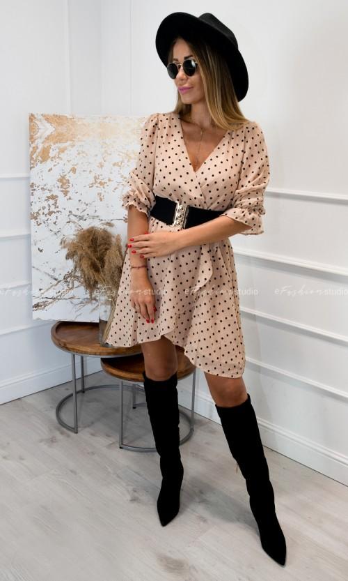 Sukienka Szyfonowa w Kropki NARUMI Beige