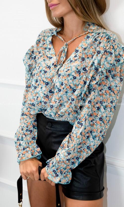 Bluzka LAURA Flowers Blue