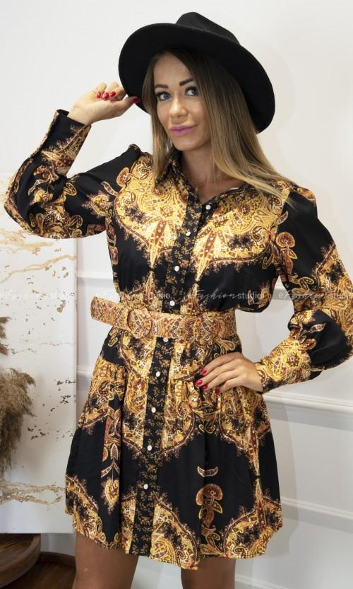 Sukienka Print Orientalny KAZUKO Black