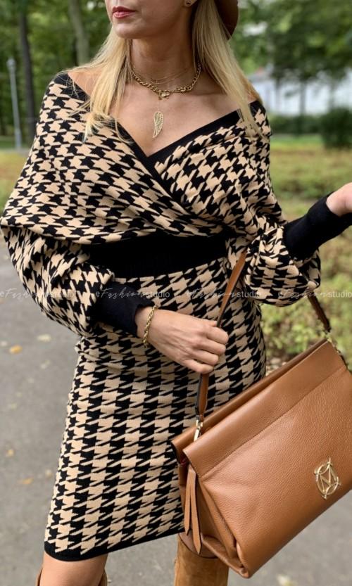 Sukienka Midi FIT PEPITKA Brown