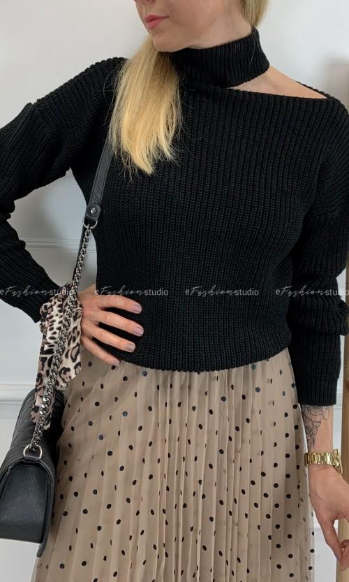 Sweterek Odkryte Jedno Ramię BASIC Black