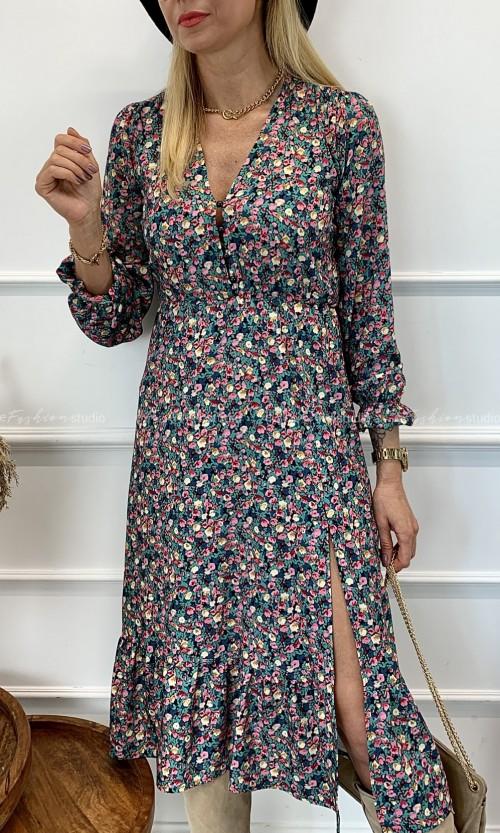 Sukienka z Rozporkiem FLOWERS Multi