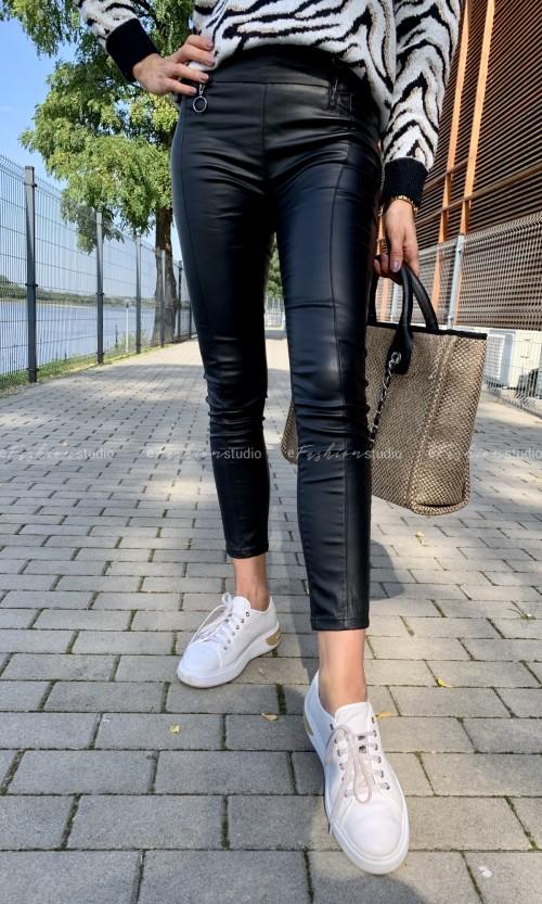 Spodnie woskowane LADY Black