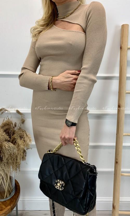 Sukienka Prążkowana SLIM Beige