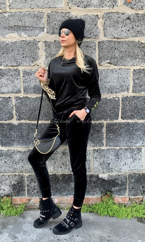 Spodnie Welurowe MANHATTAN Black