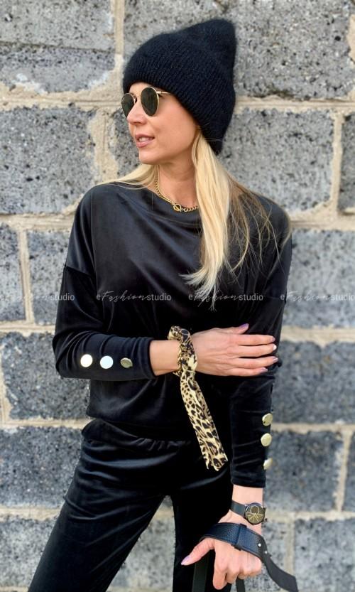 Bluza Welurowa MANHATTAN Black
