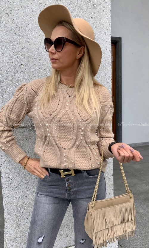 Swetr PEARLS Beige